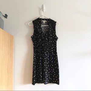 WHBM Black and White Polka Dot Ruffle Collar Dress